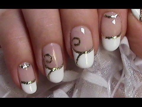 verzierte french n gel schn rkel hochzeit nageldesign wedding nails youtube n gel f r. Black Bedroom Furniture Sets. Home Design Ideas