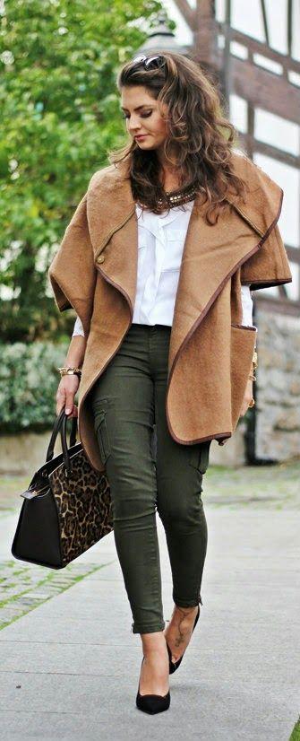 Daily New Fashion : Fashion Hippie Loves - Poncho coat, white blouse shirt, olive zara skinnies, leopard handbag and pumps.
