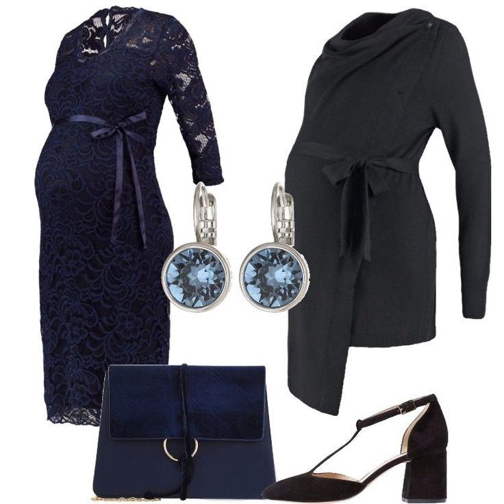 Per una festa con gli amici o per una cerimonia, questo abitino blu è perfetto per le future mamme. Abbinati al vestitino dei bellissimi tacchi neri, molto comodi.