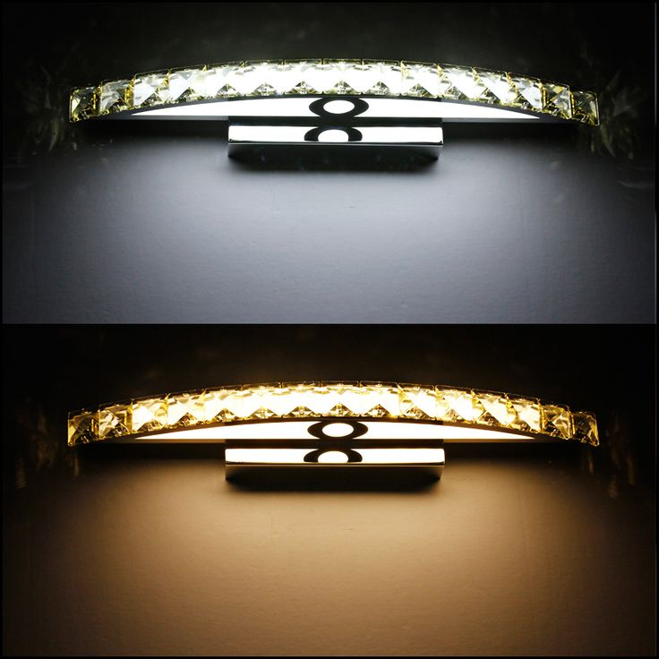 Luxo breve banheiro espelho de luz levou cristal lâmpada de parede do banheiro antimist impermeável espelho de aço inoxidável lâmpada 44 cm 10 W(China (Mainland))