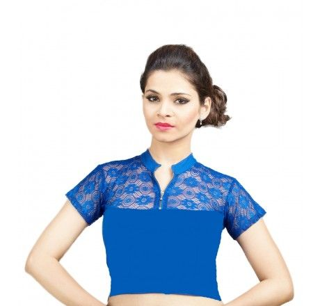 Royal blue Cotton lycra stretchable nonpadded top/blouse. - Stretchable Lycra & Velvet Blouse - Blouses - Saree,Blouse & more