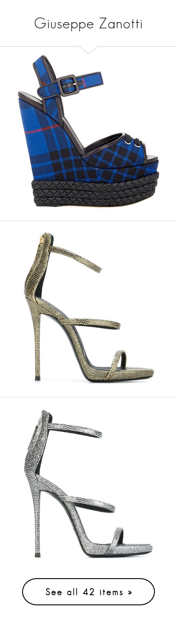 """""""Giuseppe Zanotti"""" by madebyaliciap ❤ liked on Polyvore featuring shoes, sandals, heels, wedges, embellished wedge sandals, denim sandals, platform heel sandals, black platform sandals, black wedge shoes and blue"""