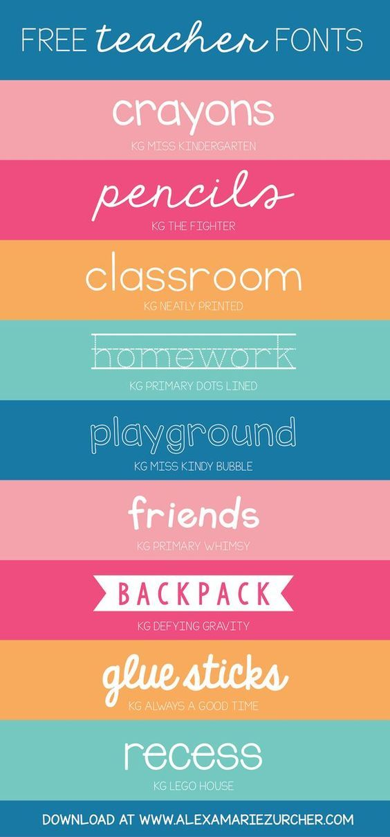 Back to school, back to school! I recently came across a few darling fonts that I think would be PERFECT for teachers. I'm a huge fan of Kimberly Geswein fonts - soooo cute - and the best part about t