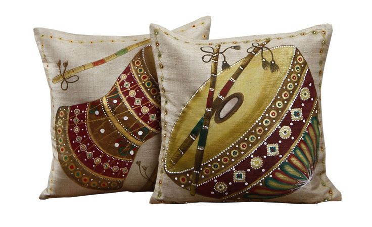 Colorful Instruments Set Of 2 Beige Silk Hand Painted Cushion Covers