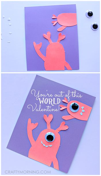 """Last Minute Alien Valentine's day card/craft for kids to make! """"You're out of this world, Valentine!"""" 