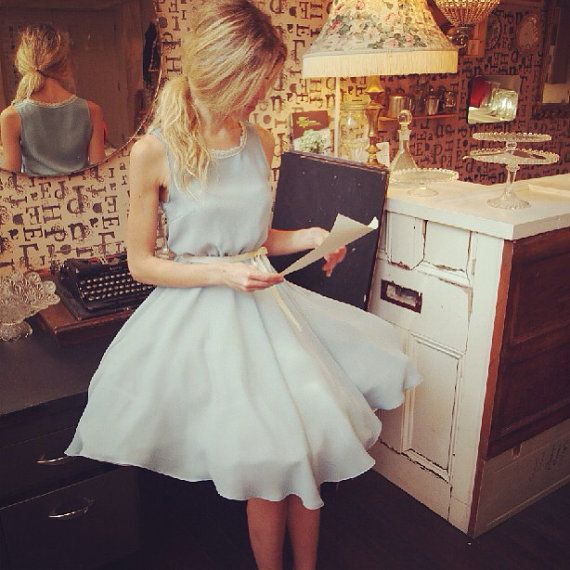 Baby blue bridesmaid dress full circle by ThisModernLoveBridal