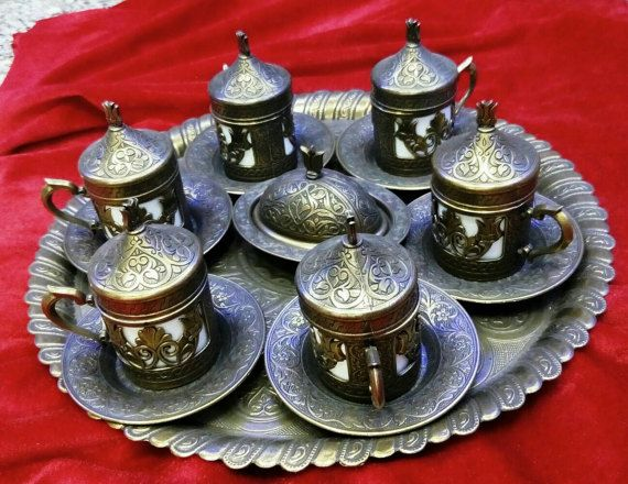 Coffee mug Greek Espresso Serving Set Copper cups