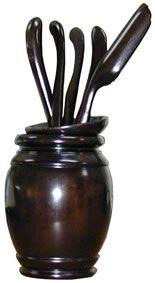 Ten Ren Tea's Dark Rosewood Tea Tools with Round Vase