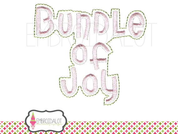 Baby embroidery designs. Bundle of Joy text by Embroidalot on Etsy PDF to create your own Bundle Of Joy embroidery for baby diy projects
