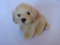 Retriever puppy dog stuffed animal plush. Dog sits. Length about 15 cm. http://www.sammler-und-hobbyshop.eu/Retriever-puppy-dog-stuffed-animal-plush-15cm