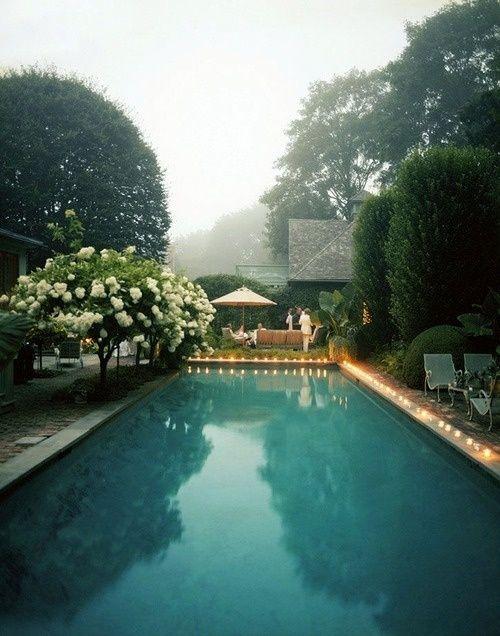 Hamptons serenity at a fog-shrouded pool #beautiful #simple #elegant #beachhouse