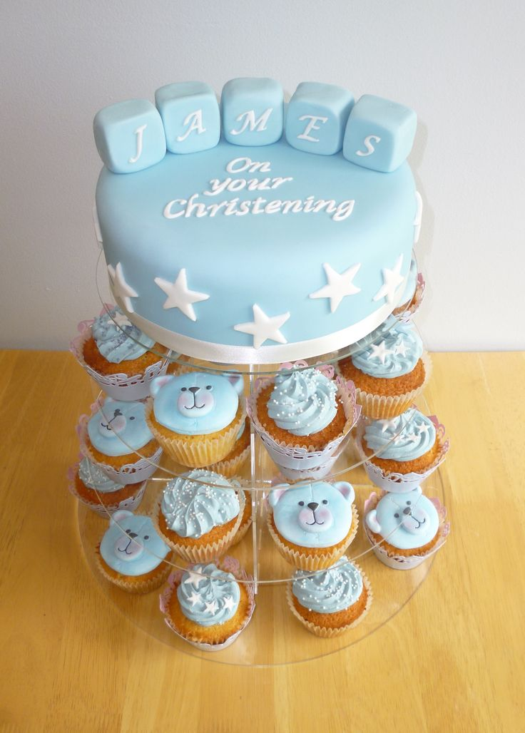 Christening Cake & Cupcakes for a Boy - Blue Teddy & Stars
