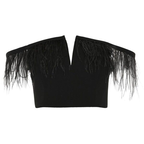 8b385ffee5c84 Topshop Feather Trim Cropped Bardot Top ( 41) ❤ liked on Polyvore featuring  tops