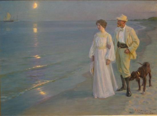 Peder Severin Krøyer | 1851-1909, Denmark | Serata estiva sulla spiaggia di Skagen