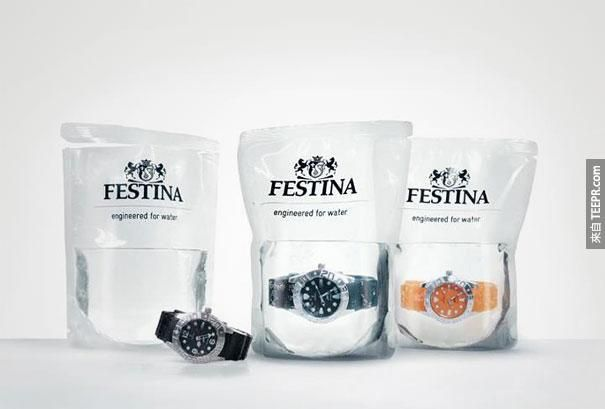 12. Festina waterproof watch, water in the packaging