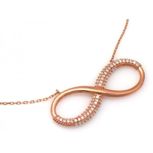 SILVER ROSE GOLD PLATED INFINITY NECKLACE