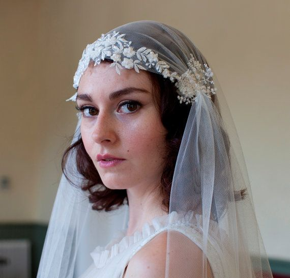 Dramatic Juliet Cap Veil with Beaded Floral lace ,Kate moss style veil, cathedral length veil,chapel length veil,ivory,white, champagne veil on Etsy, $305.00