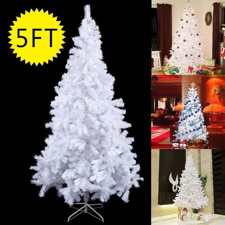 white christmas tree 5ft unlit cheap metal stand house room indoor xmas decor us - Cheap White Christmas Trees