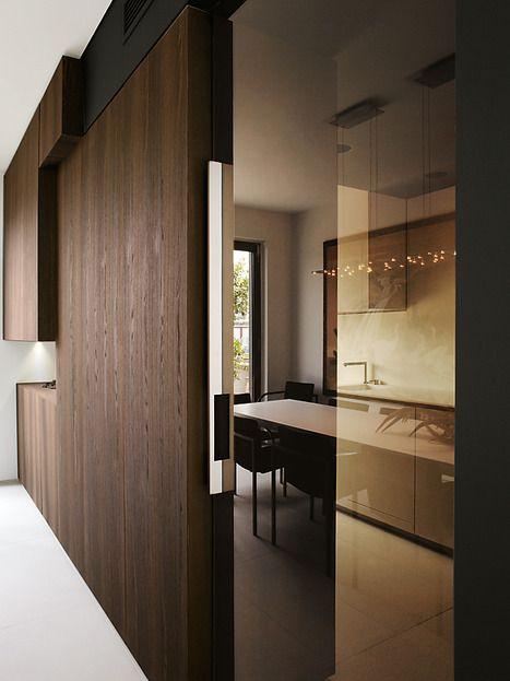 *modern interior design, sliding doors, Kitchen design, transitional spaces, hallways* - Boxing life apartment in Turin, Italy, by Uda - Architetti Associati