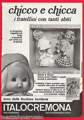 Pubblicità Italocremona Chicco e Chicca 1974