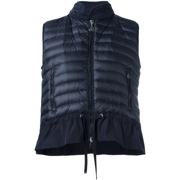 Moncler hooded padded front gilet (46.615 RUB) ❤ liked on Polyvore featuring outerwear, vests, blue, padded vest, peplum vest, moncler gilet, blue vest and gilet vest