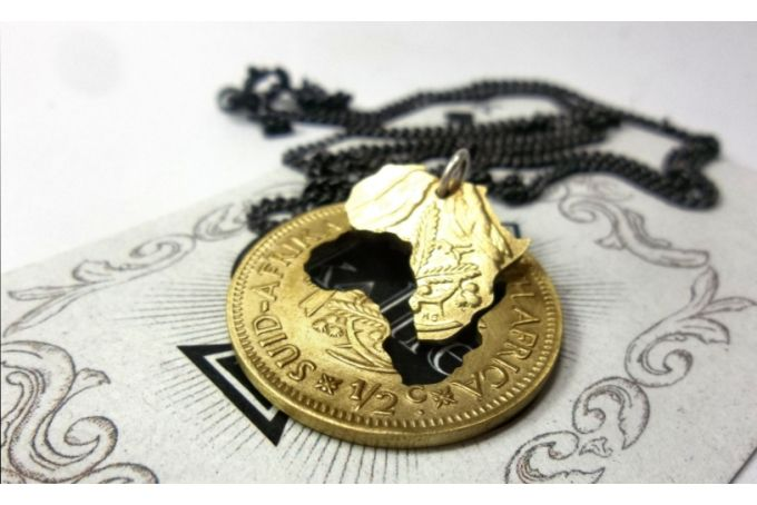Coin Series - Pendant: Old brass 1/2 cent.Double Africa Cut away by Kallie