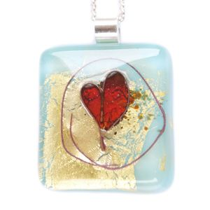 Turquoise Fused Silver Heart Fused Glass with 24ct gold leaf and copper heart inclusion on a Sterling Silver Chain. €30.00EUR http://www.mcgonigleglassstudio.com/ourshop/prod_3107820-Turquoise-Fused-Silver-Heart.html