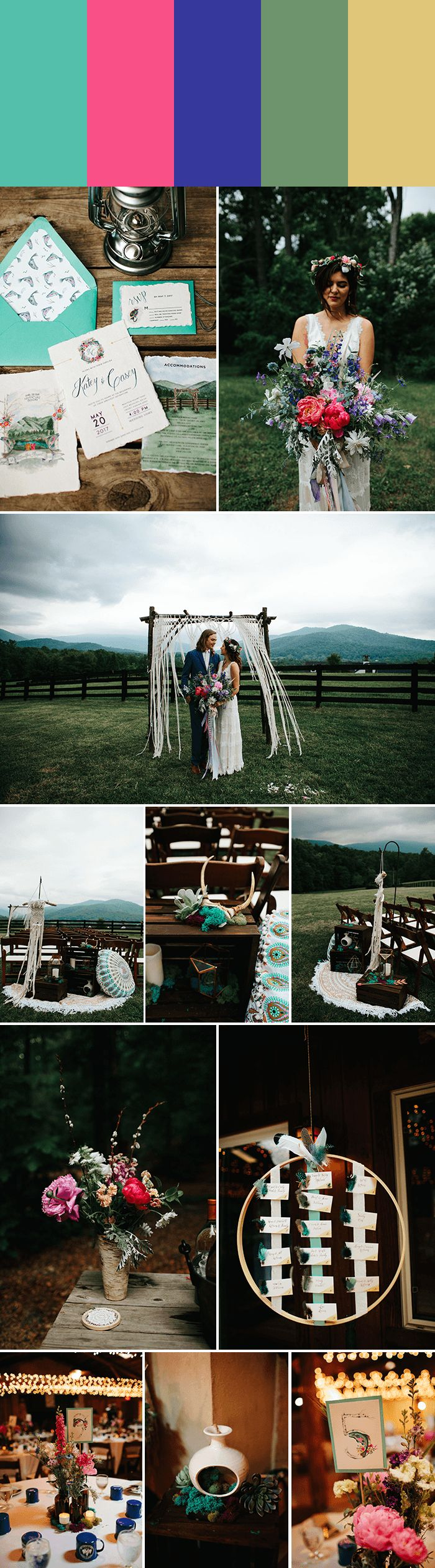 Achieve boho rustic chic with Cyan + Fuchsia + Lapis +Sage Green + Baby Yellow   Images by Leslie Swan Photography