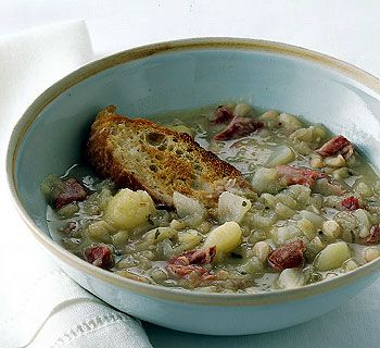 Cabbage and White Bean Soup. Don't be misled by the plain-looking appearance of this classic Basque soup; it is thoroughly satisfying and delicious. ♥ Gourmet