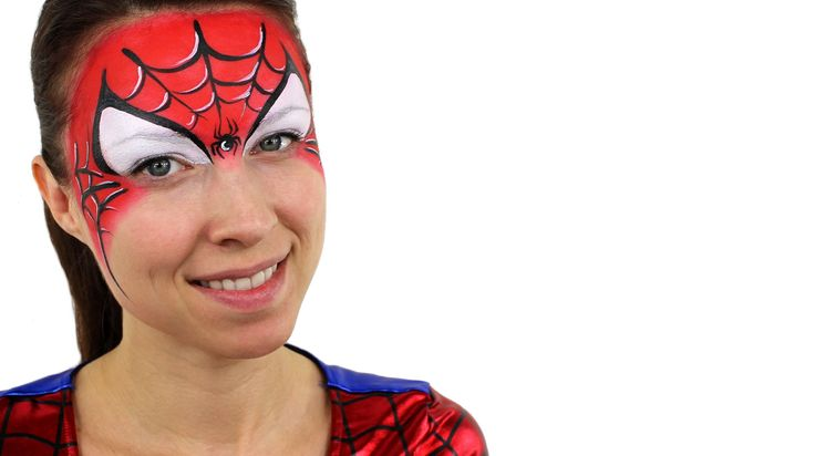 I know I've pinned a zillion of these, but I love how tidy her work is...Spiderman Face Paint Tutorial