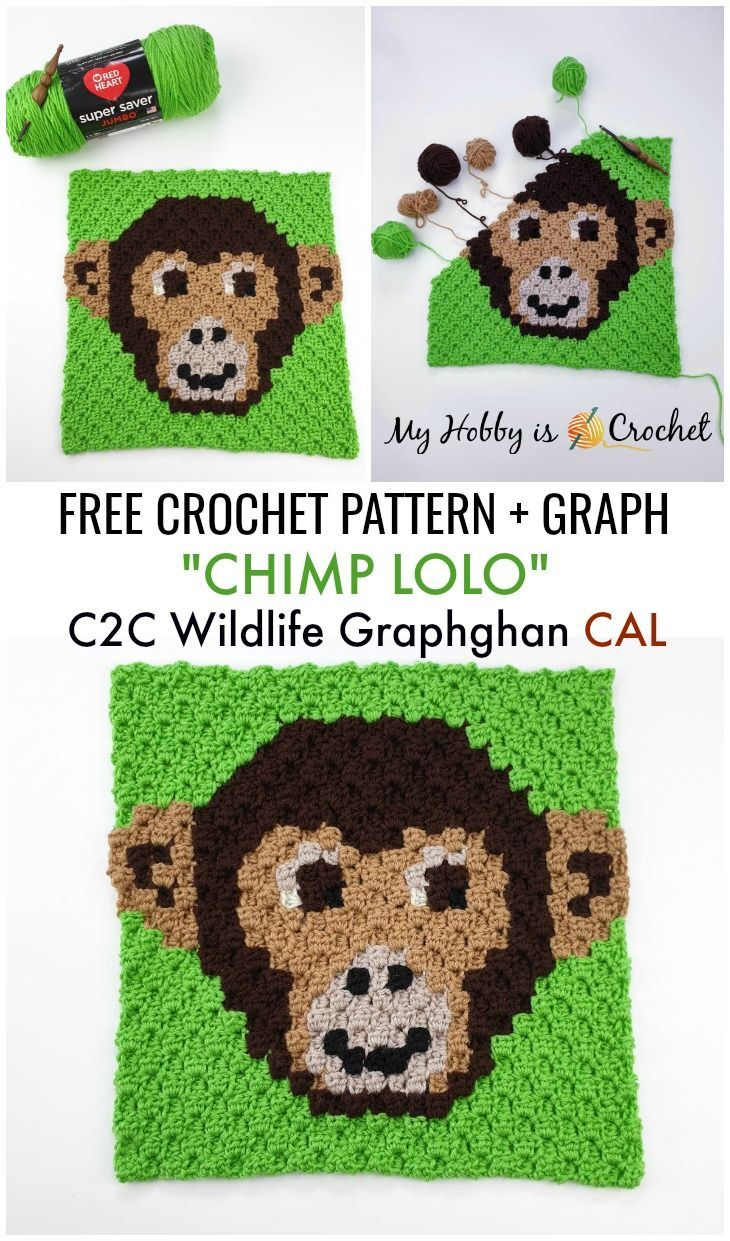 "Free Crochet Pattern: ""Chimp Lolo"" C2C – Wildlife Graphghan CAL"