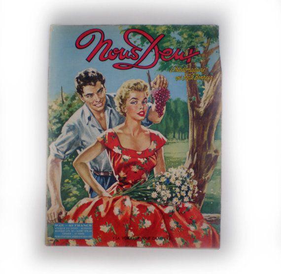 """French vintage romance magazine 'Nous Deux"""" No428 1950's"""