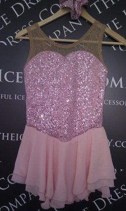 $151.64 The Ice Dress Company - Ice Skating Dresses Body of the dress is pink on pink embroidered sequin jersey and sparkle skin powernet. Skirt is a double layer of matching pink georgette. Pink scrunchie included.