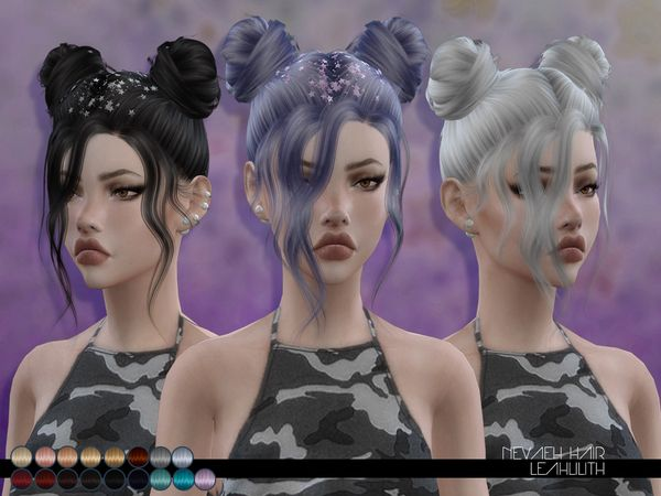Nevaeh Hair by Leah Lillith at TSR via Sims 4 Updates