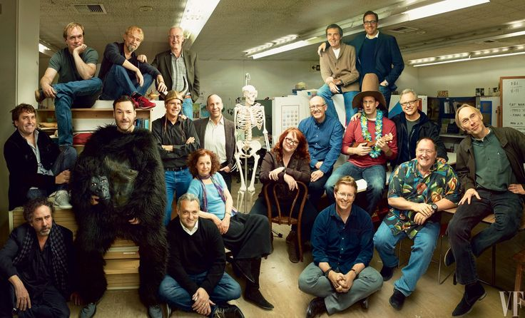 THE KIDS FROM CALARTS From left: Steve Hillenburg, Tim Burton, Brad Bird, Mark Andrews (in ape suit), Jerry Rees, Chris Buck (with Viking helmet), John Musker, Genndy Tartakovsky, Leslie Gorin, Mike Giaimo, Brenda Chapman, Glen Keane, Kirk Wise (in beige sweater), Andrew Stanton, Pete Docter (with Lei), Rob Minkoff, Rich Moore, John Lasseter, and Henry Selick, in the famed CalArts classroom A113.