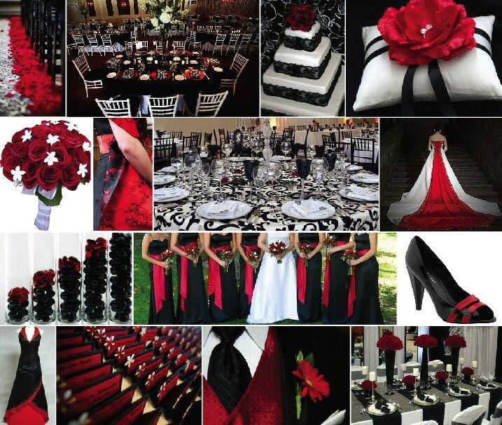 black white red wedding ideas