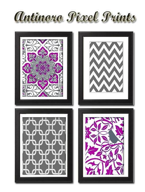 Purple / Grey Vintage / Modern inspired by antinoropixelprints, $35.00