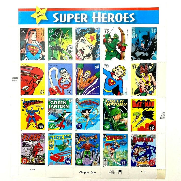2005 USPS DC Comics Super Heroes 39¢ Stamps Sheet of 20 in