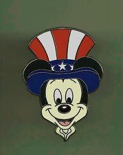 WDW DISNEY CAST PIN MICKEY AS UNCLE SAM USA FLAG STARS & STRIPES RED WHITE BLUE