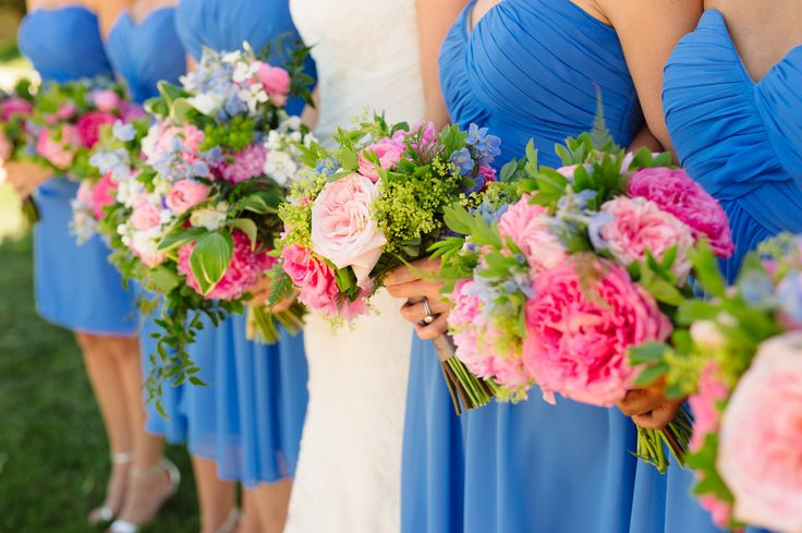 Kennedy Events and Design www.kennedyeventsanddesign.com  Marcella Treybig Photography marcellatreybigblog.com   Pink and blue wedding, cornflower blue bridesmaids dress, Bill Levkoff, peonies, bouquet at PB Dye Golf Club in Frederick, MD.  Flowers by Petals by the Shore.