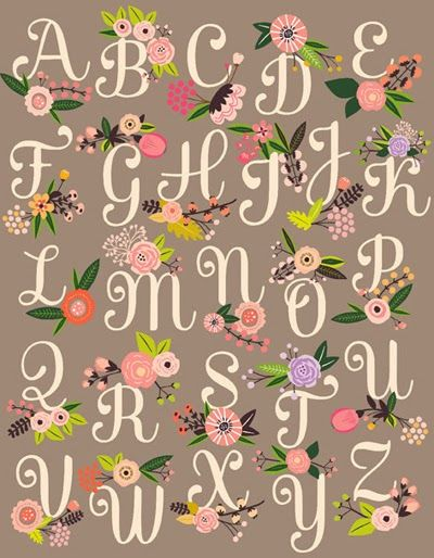 Lucy Darling Prints alphabet vintage cute illustration flowers typography