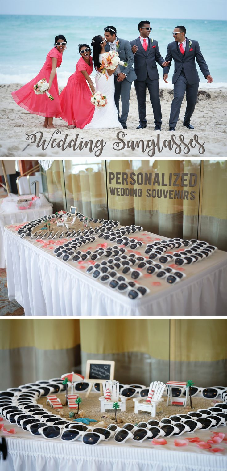 400 UV white frame sunglasses personalized with the bride and groom's name and wedding date are perfect for beach and outdoor wedding reception favors. Set up a sunglasses station for guests to pick up a pair and use during your reception fun and every day after your wedding. These sunglasses can be ordered at http://myweddingreceptionideas.com/white-personalized-sunglass-favors.asp