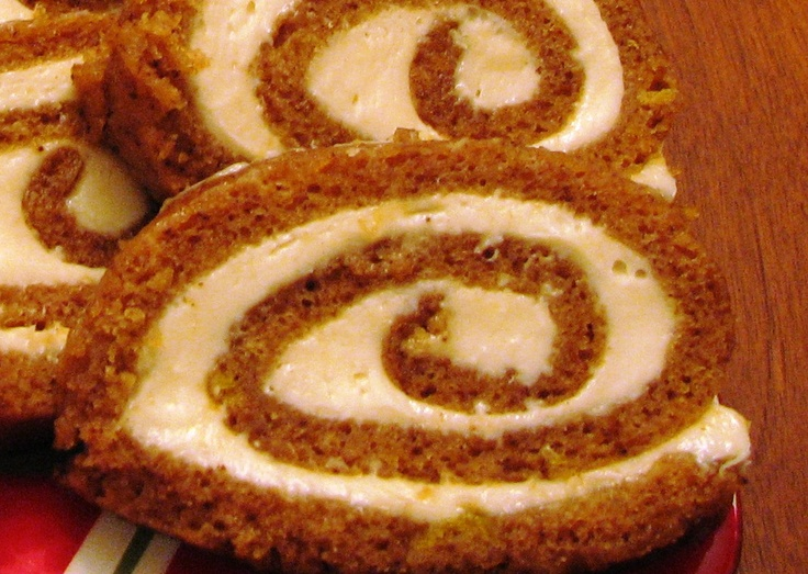 Libby's Pumpkin Roll - This is the recipe I use every year but keep losing the Libby's can label so I'm pinning it.  I don't like cloves so I leave them out.  I rarely use the walnuts just because we like the roll without them. --Melissa
