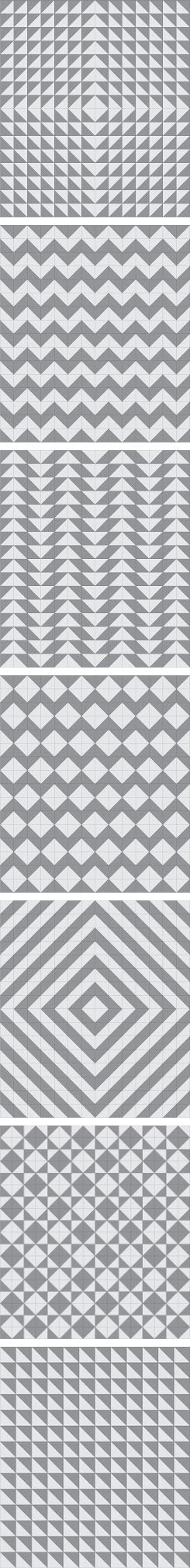 Seven half-square triangle layout patterns.  http://demonicmarshmallow.blogspot.com/2013/02/diagonal-two-color-squares-tutorial