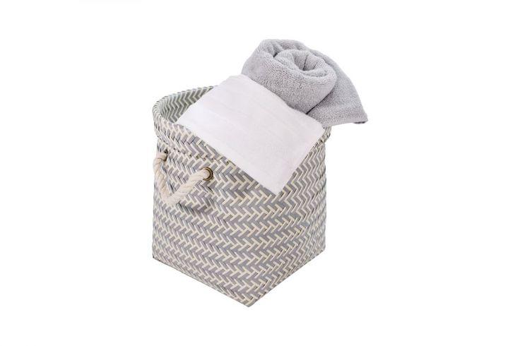 "<ul> <li>Handmade design with a repeating light blue and white woven pattern</li> <li>Finished with white rope handles</li> <li>Maximum load weight of 18.8 pounds</li> <li>Measures 12.6"" W x 12.6"" D x 11.8"" H</li>  </ul>"