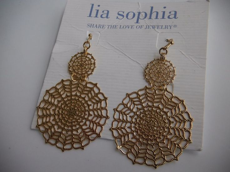 LIA SOPHIA Pizelle Earrings Gold-Toned Filigree Dangle