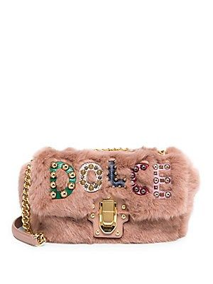 86999003c448 Dolce   Gabbana Faux-Fur Logo Shoulder Bag