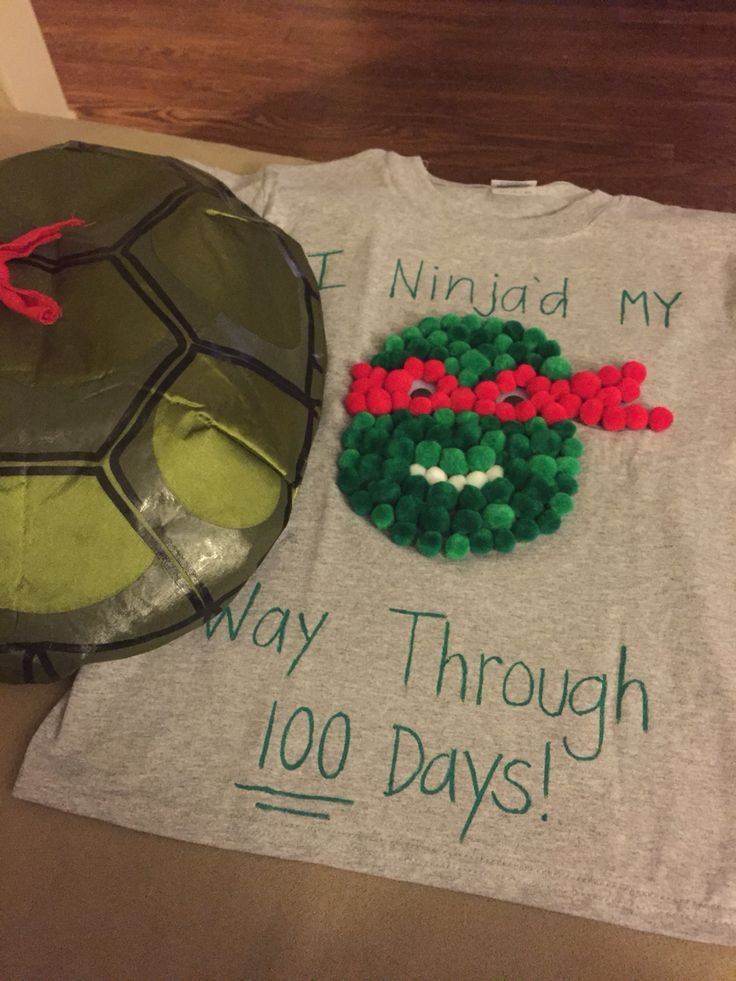 100 days of school shirt! I'm also going to sew the shell I stuffed to the back. DIY ninja turtle tshirt