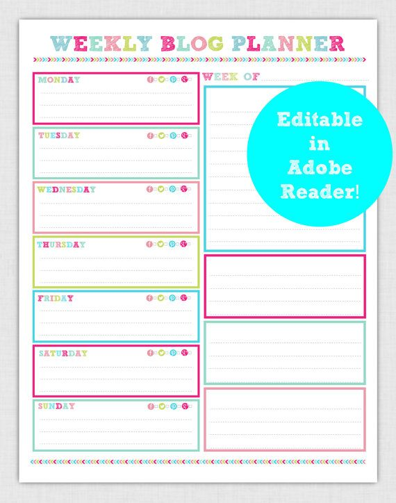 EDITABLE Weekly Blog Planner Page pdf INSTANT DOWNLOAD- diy/Customize Editable in Adobe Reader