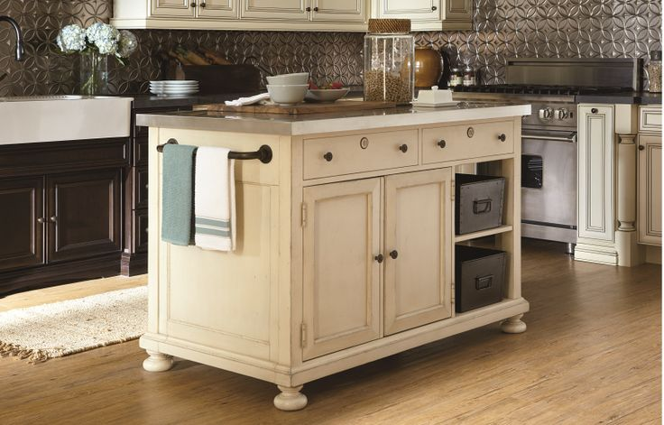 River House Collection Kitchen Island With Stainless Metal Top Slide Out Table With Casters